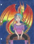 Young girl and dragon by eilujenna