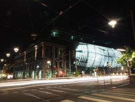 Graz at night - Kunsthaus friedly alien by CeaSanddorn
