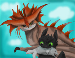 Toothless and Cloudjumper 2 by Crazydog12