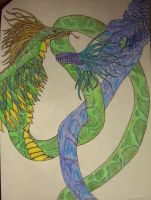 Green and blue Windsepent by Seitira