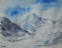 Mountainscape watercolor by Boias