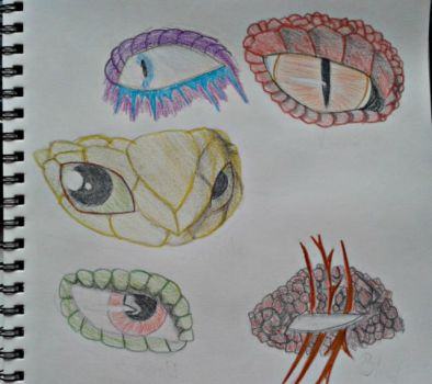 Dragon Eye Sketches (colored) by AmberWolf96