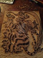 Tiger Heraldry Carving by NoahBDesign