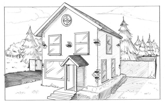 House in Two-Point Perspective by AlbinoGrimby