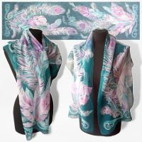 silk scarf Feathers - FOR SALE by MinkuLul