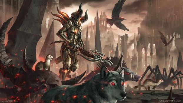 Hunter And Her Companions - Diablo III by Vablo