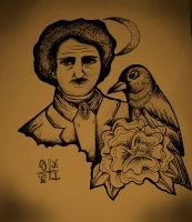 edgar alla poe with crow by ShellyZTrueheartInk