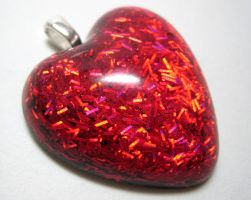 Heart Pendant w. Red Glitter by ExperienceDesigns