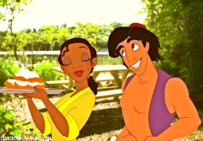 Aladdin/Tiana Crossover. by angeelous-dc