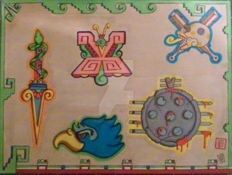Aztec Tattoo flash by Penguin1620