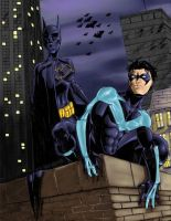 NightWing and Batgirl by wraith2099
