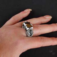 brutal ring , natural hematite by Atalia65