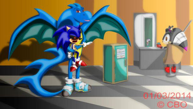 Ash the dragon and the little Sonic.exe  (gift) by 121311CBO