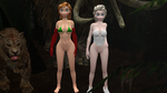 Elsa and Anna in the jungle (normal breasts) by R0ck4x3