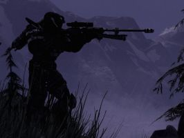 Halo Reach: hilltop sniper by purpledragon104