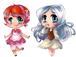 Chibi Snow White and Rose Red by Kachumi