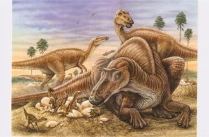 Maiasaura and nest by phillustr8r