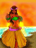 Hawaiian Girl-Color Practice by TreStyles