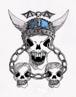 Chained skull and colours by Uncle-Sarah