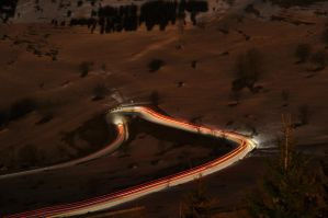 Moutain road at night by Cpl-Highway