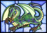 Green dragon on glass by R-i-Perils