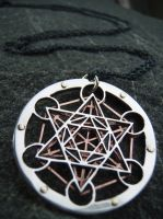 Silver and Copper Metatron's Cube pendant by jeanburgers