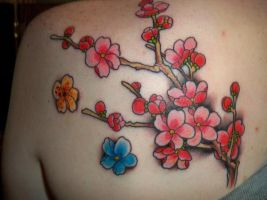 Sakura Tattoo in Color by Miko-Baka