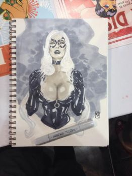 Black Cat bust drawing by Chad Spilker by spilkerart
