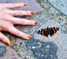 Butterfly vs my nail art XD by Bunnymoon-Cosplay