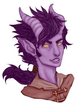 Damien the Purple Tiefling by SongOfPandora
