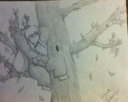Inuyasha resting in a tree by Ember-Flame007