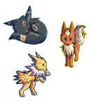Eeveelutions 2/3 by Cavaffeine