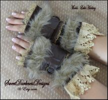 Post apocalyptic cuffs  brown leather faux fur by SweetDarknessDesigns