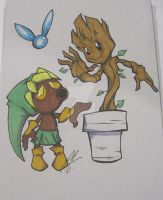 Deku Nut Link And Little Groot by WhiteFox89
