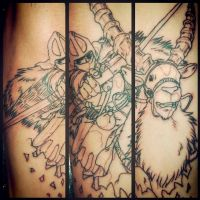 Princess Mononoke Tribute tattoo wip by Uken