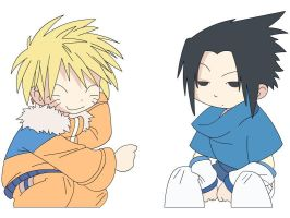 Naruto and Sasuke as kids by darkhellfire150