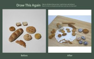 Reacriation of polymer clay miniature bread by OrangeJuiceCreations