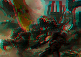 Battle image 3D Rouge Bleu Cyan by Fan2Relief3D