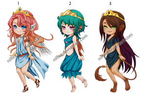 Adoptables- Princess trio [CLOSED] by Nilfea