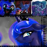 Luna and NightMare Moon Wallpaper by Beatriz4905