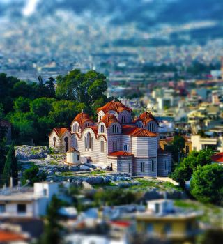 Church Athens (tilt shift re-uploaded) by shuu2