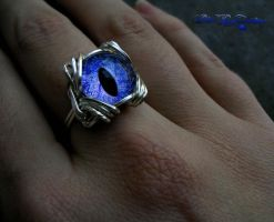 Dragon Eye - Wire Wrapped Ring - Blue Color Shift by LadyPirotessa