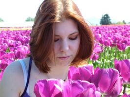 Miss B in the tulips 1 by JensStockCollection