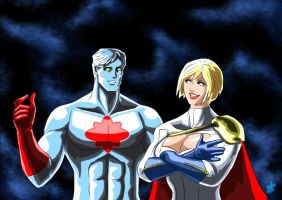 Power Girl and Captain Atom - Modern Era by adamantis