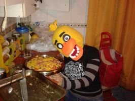 chica love pizza by Midowko