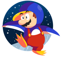 Penguin Mario on ice by Domestic-hedgehog