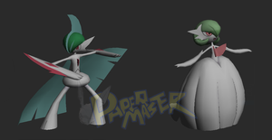 WIP Mega Gallade and Mega Gardevoir ( papercraft ) by RavaMaster