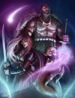 The three heroes from afar. by Suzanne-Helmigh
