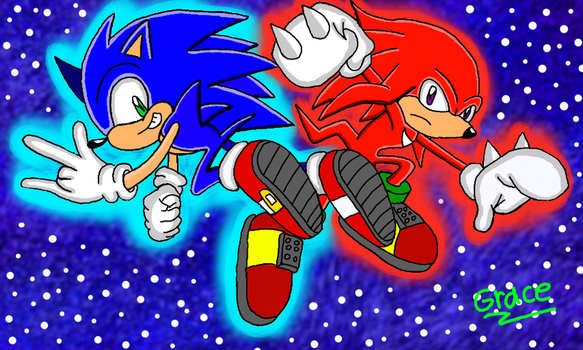 Sonic and Knuckles by GraceTheEchidna
