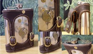 11th Hour Steampunk Flask by Justenjoyinglife